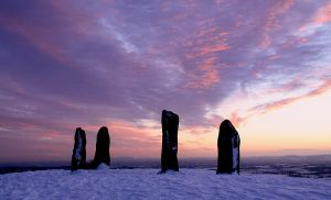 Clent Standing Stones, Winter Sunset