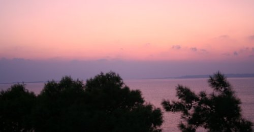 Sunset over sea in Kefelonia
